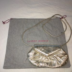 Lauren Merkin Gold Clutch/ Crossbody Purse